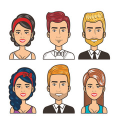 set of people happy men and women portrait design vector image