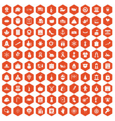 100 national holiday icons hexagon orange vector