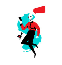 a man with a phone in a red shirt flat young man vector image