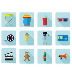 A set of color icons for cinema and movies vector