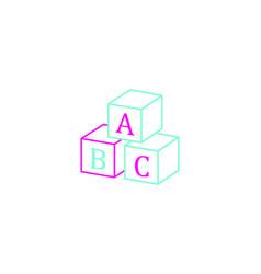 Abc block thin line background vector