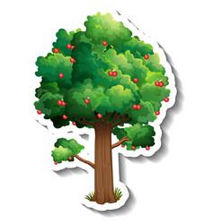 Apple tree sticker on white background vector