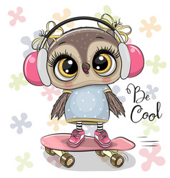 artoon owl on a skateboard with headphones vector image