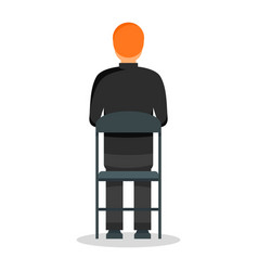 Back black man chair icon flat style vector