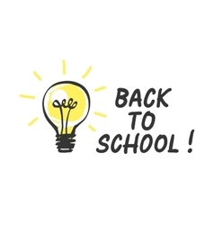 Back to school logo with light bulb vector image