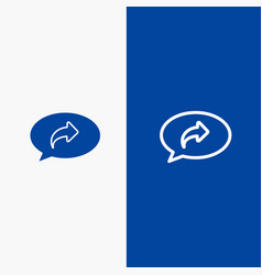 Basic chat arrow right line and glyph solid icon vector