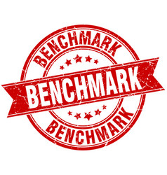 Benchmark round grunge ribbon stamp vector