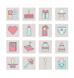 big web icon set baby toy feed and care vector image