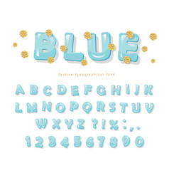 Blue glossy font abc letters and numbers for vector