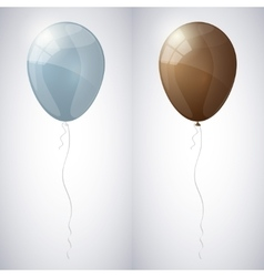 Blue-gray and brown shiny glossy balloons vector