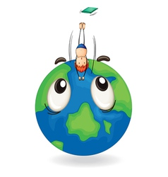 boy diving on earth globe vector image