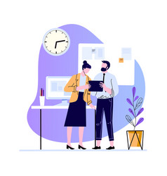 business colleagues discussion in office vector image