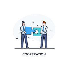 Businessmen connect puzzle joint efforts success vector