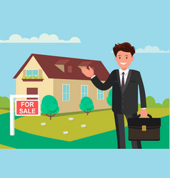buying a new home realtor shows house for vector image