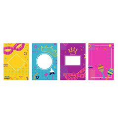 carnival colorful posters set flyer or invitation vector image