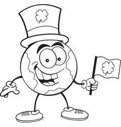 Cartoon earth holding an Irish flag vector image