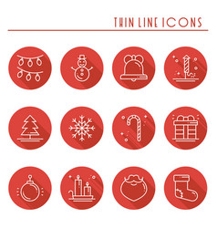 christmas holiday thin line icons set with long vector image