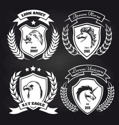 coat arms collection on blackboard vector image
