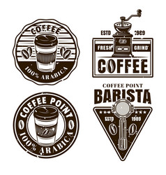 coffee set black and white emblems vector image