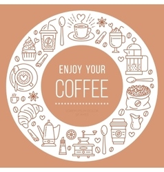 Coffee shop poster template line vector