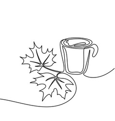 Cup coffee and maple leaves vector