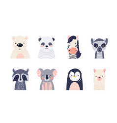 Cute animal bafaces set vector