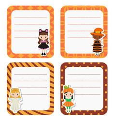cute cards or stickers with cartoon children in vector image