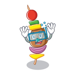 Diving barbecue character cartoon style vector