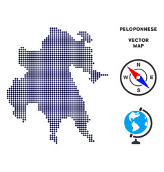 Dot peloponnese peninsula map vector