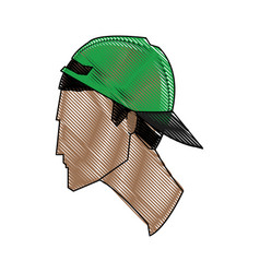Drawing profile head young man with green cap vector