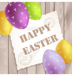 Easter poster with colorful eggs on wood vector image