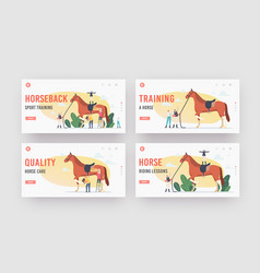 Equestrian horseback sport training landing page vector