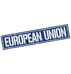 european union blue square stamp vector image