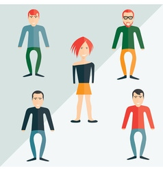 four guys and girl flat design vector image