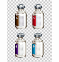 four packaging designs for liquid medicine vector image