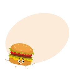 Funny burger fast food kids menu character vector