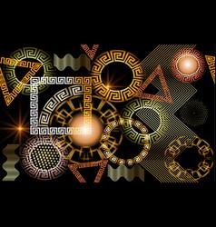 geometric glowing 3d greek seamless pattern vector image