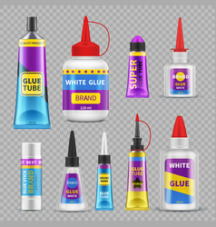 Glue sticks adhesive super tubes and bottles vector