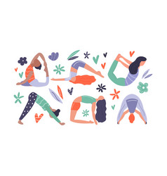 group of yoga woman vector image