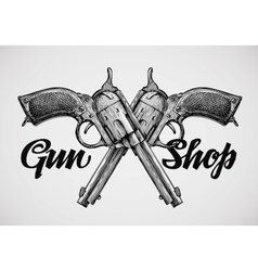 Hand drawn vintage guns Crossed pistols vector