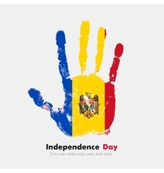 Handprint with the The flag of Moldova in grunge vector