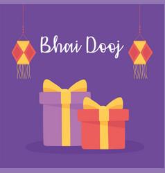 happy bhai dooj indian family celebration gifts vector image
