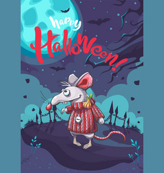 Happy halloween image with funny cartoon mouse vector