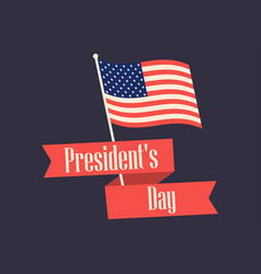 Happy presidents day retro banner with american vector