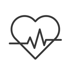 Heart beat signal outline icon vector