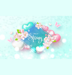 hello spring beautiful background with flowers vector image