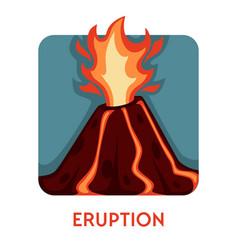 Hot burning lava streams volcanic eruption vector