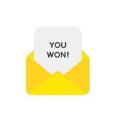 icon concept of mail envelope with you won on vector image