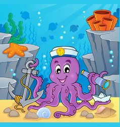 image with octopus sailor 2 vector image