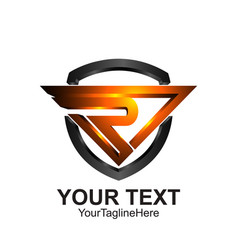Initial letter r logo template colored orange vector
